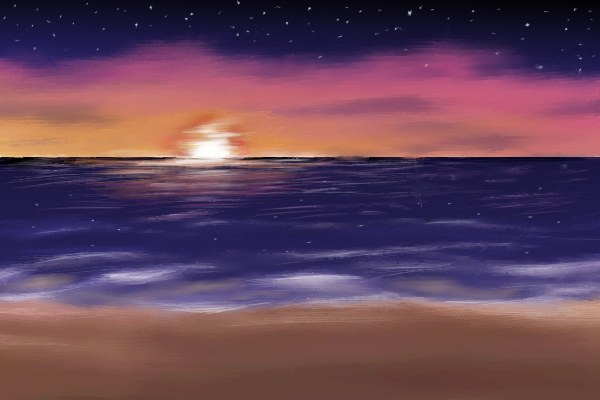 Beach Sunset Drawing